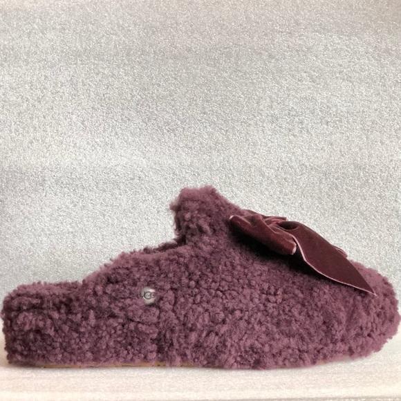 acfe521b8c2 Ugg Addison Velvet-Bow Curly Sheepskin Slippers